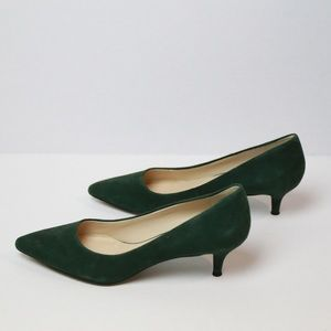 NWOT Nine West US 7 Green Kitten Heels Suede